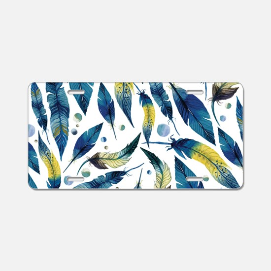 Feathers Blue Aluminum License Plate