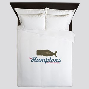 The Hamptons - Whale Design. Queen Duvet