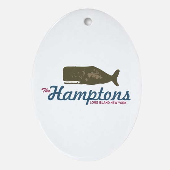 The Hamptons - Whale Design. Ornament (Oval)