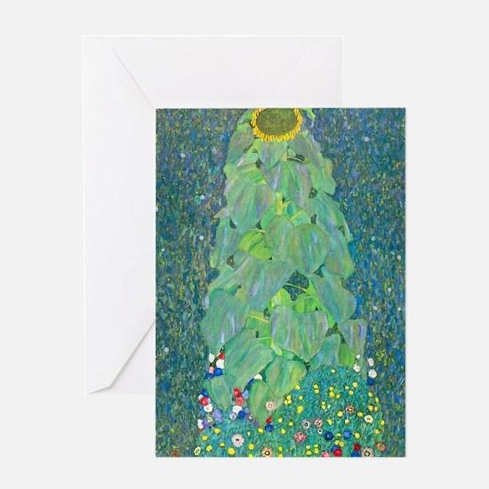 Sunflower by Gustav Klimt Greeting Cards