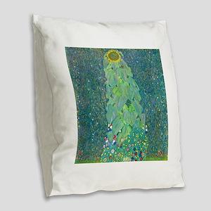 Sunflower by Gustav Klimt Burlap Throw Pillow