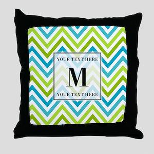 Chevron Custom Monogram Throw Pillow