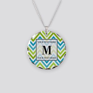 Chevron Custom Monogram Necklace Circle Charm