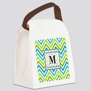 Chevron Custom Monogram Canvas Lunch Bag