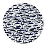 School of Bluefin Tuna Round Car Magnet