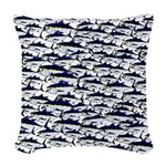 School of Bluefin Tuna Woven Throw Pillow