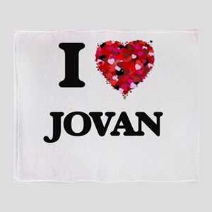 I Love Jovan Throw Blanket