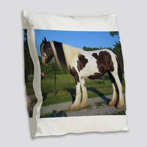 horse gypsy vanner Burlap Throw Pillow
