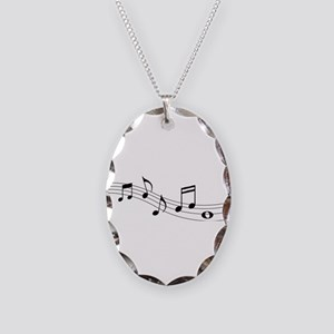 Music Notes Necklace Oval Charm