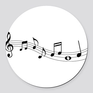 Music Notes Round Car Magnet