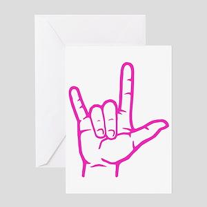 Fuchsia ASL I Love You Greeting Card