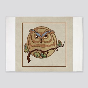 Wood Texture Owl Logo on Parchment 5'x7'Area Rug