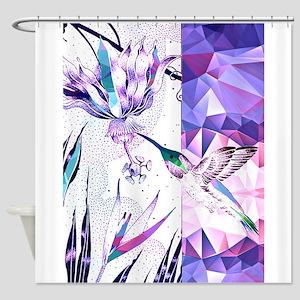 Hummingbird and Fuschia Flower in P Shower Curtain