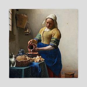 Vermeer The milkmaid with kitten Queen Duvet