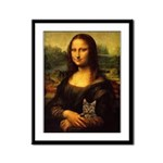 Monalisa with cat Framed Panel Print