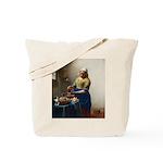 Vermeer The milkmaid with kitten Tote Bag