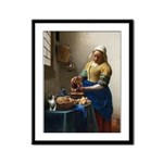 Vermeer The milkmaid with kitten Framed Panel Prin