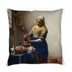 Vermeer The milkmaid with kitten Everyday Pillow