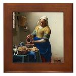 Vermeer The milkmaid with kitten Framed Tile