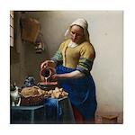 Vermeer The milkmaid with kitten Tile Coaster