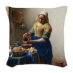 Vermeer The milkmaid with kitten Woven Throw Pillo
