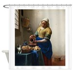 Vermeer The milkmaid with kitten Shower Curtain
