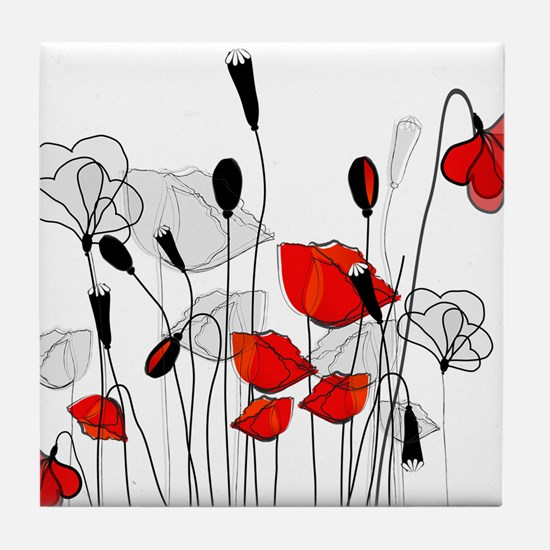 Red Poppies and Hearts Tile Coaster