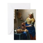 Vermeer The milkmaid with kitten Greeting Cards
