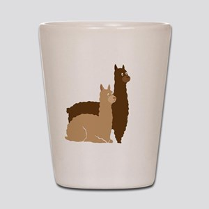 2 alpacas  Shot Glass