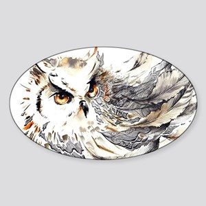 Owl Watercolor Sticker (Oval)
