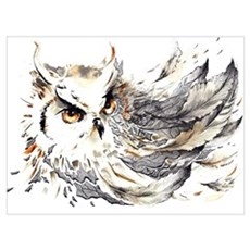 Owl Watercolor Framed Print