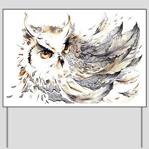 Owl Watercolor Yard Sign