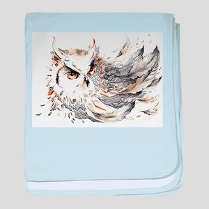 Owl Watercolor baby blanket