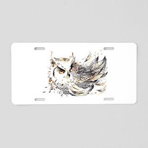 Owl Watercolor Aluminum License Plate