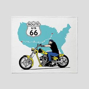 Route 66 Biker Throw Blanket