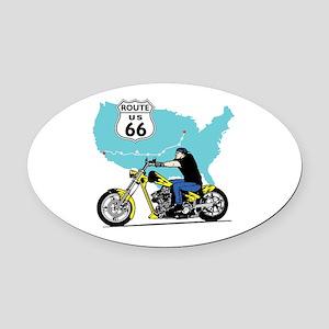 Route 66 Biker Oval Car Magnet