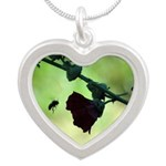 Busy Bee Silver Heart Necklace