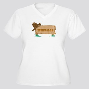 Esmeralda western Women's Plus Size V-Neck T-Shirt