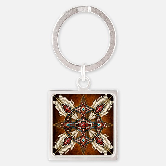 Cute American indian Square Keychain