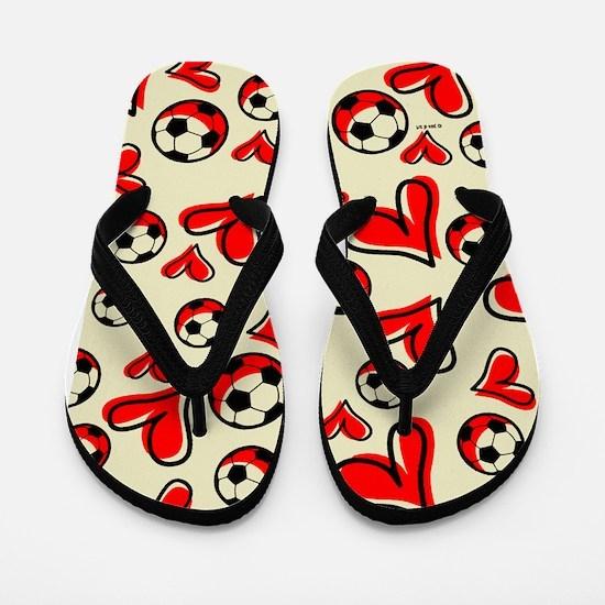 Soccer & Hearts Flip Flops