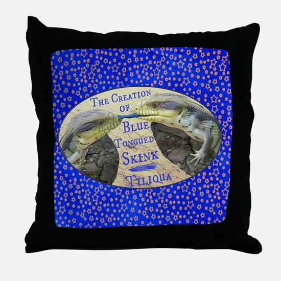 The Creation of Blue Tongued Skink Throw Pillow