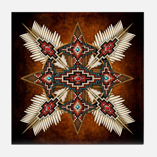 Native American Style Mandala 28 Tile Coaster