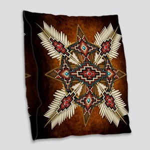 Native American Style Mandala Burlap Throw Pillow