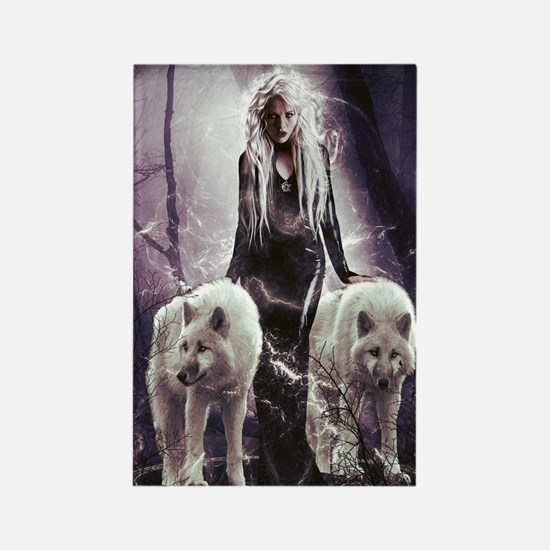 Funny White wolf Rectangle Magnet