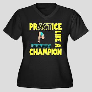 PRACTICE DIV Women's Plus Size V-Neck Dark T-Shirt