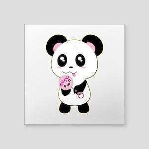 "Panda w/ Pink Rattle Square Sticker 3"" x 3"""