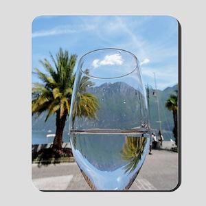 Mountains through the wine glass Mousepad