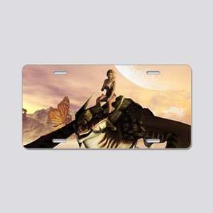 Dragon with elf Aluminum License Plate