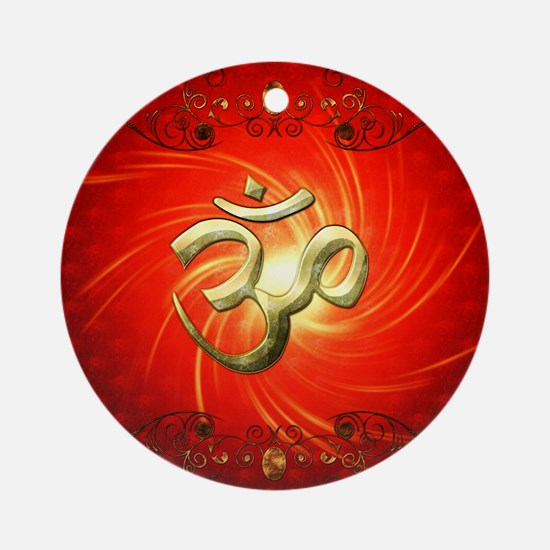 The sign om in gold Ornament (Round)