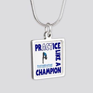 PRACTICE DIVING Silver Square Necklace